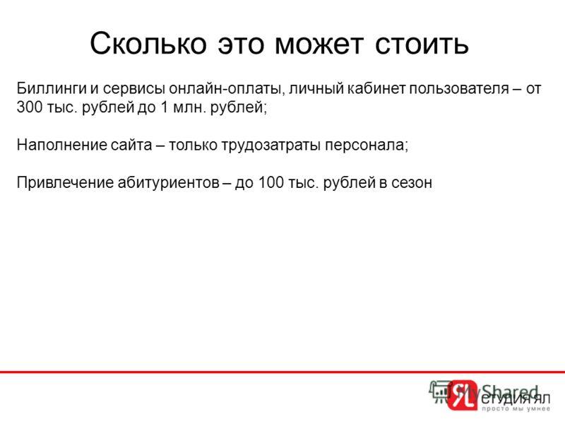 Сколько это может стоить Биллинги и сервисы онлайн-оплаты, личный кабинет пользователя – от 300 тыс. рублей до 1 млн. рублей; Наполнение сайта – только трудозатраты персонала; Привлечение абитуриентов – до 100 тыс. рублей в сезон