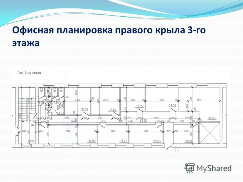 Офисная планировка правого крыла 3-го этажа
