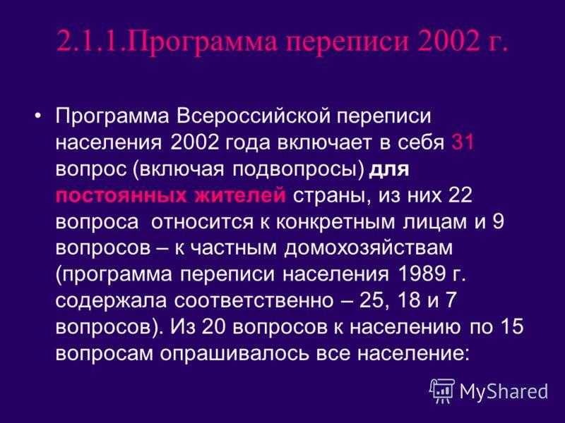 2.1.1.Программа переписи 2002 г. Программа Всероссийской переписи населения 2002 года включает в себя 31 вопрос (включая подвопросы) для постоянных жителей страны, из них 22 вопроса относится к конкретным лицам и 9 вопросов – к частным домохозяйствам