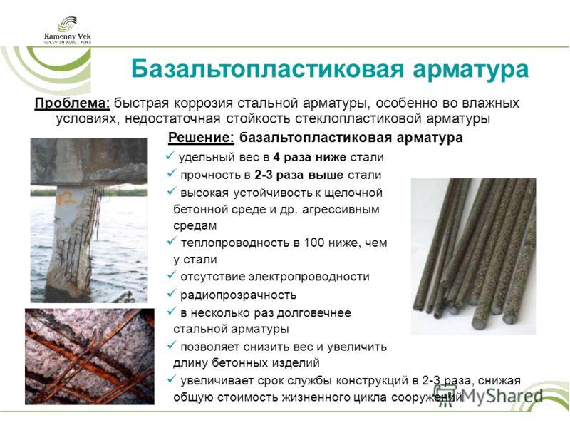 Базальтопластиковая арматура Проблема: быстрая коррозия стальной арматуры, особенно во влажных условиях, недостаточная стойкость стеклопластиковой арматуры Решение: базальтопластиковая арматура удельный вес в 4 раза ниже стали прочность в 2-3 раза вы