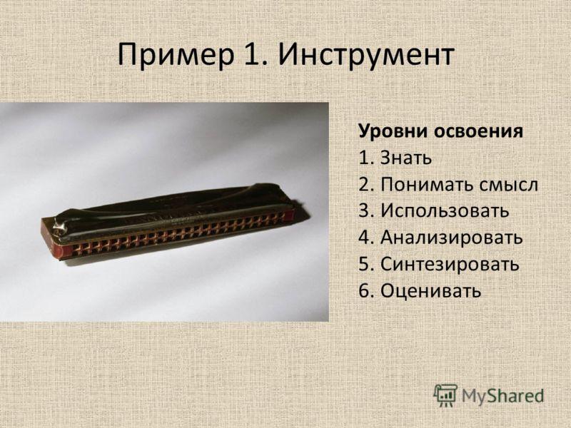 Пример 1. Инструмент Уровни освоения 1. Знать 2. Понимать смысл 3. Использовать 4. Анализировать 5. Синтезировать 6. Оценивать