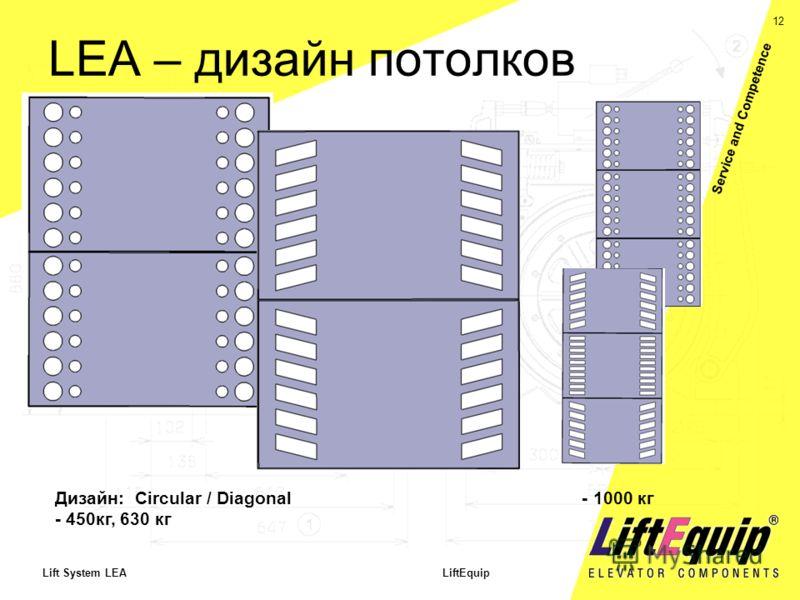 12 Lift System LEA LiftEquip Service and Competence LEA – дизайн потолков Дизайн: Circular / Diagonal - 1000 кг - 450кг, 630 кг