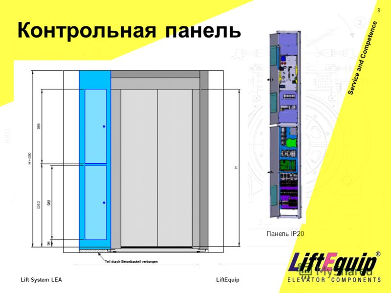9 Lift System LEA LiftEquip Service and Competence Контрольная панель Панель IP20