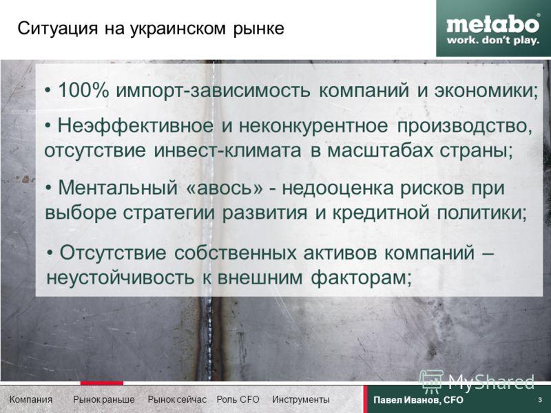 Компания Рынок раньше Рынок сейчас Роль CFO Инструменты Павел Иванов, CFO 3 100% импорт-зависимость компаний и экономики; Неэффективное и неконкурентное производство, отсутствие инвест-климата в масштабах страны; Ментальный «авось» - недооценка риско