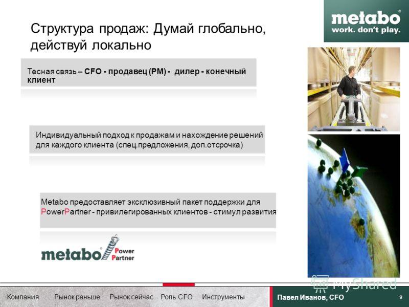 Компания Рынок раньше Рынок сейчас Роль CFO Инструменты Павел Иванов, CFO 9 Структура продаж: Думай глобально, действуй локально Metabo предоставляет эксклюзивный пакет поддержки для PowerPartner - привилегированных клиентов - стимул развития Индивид