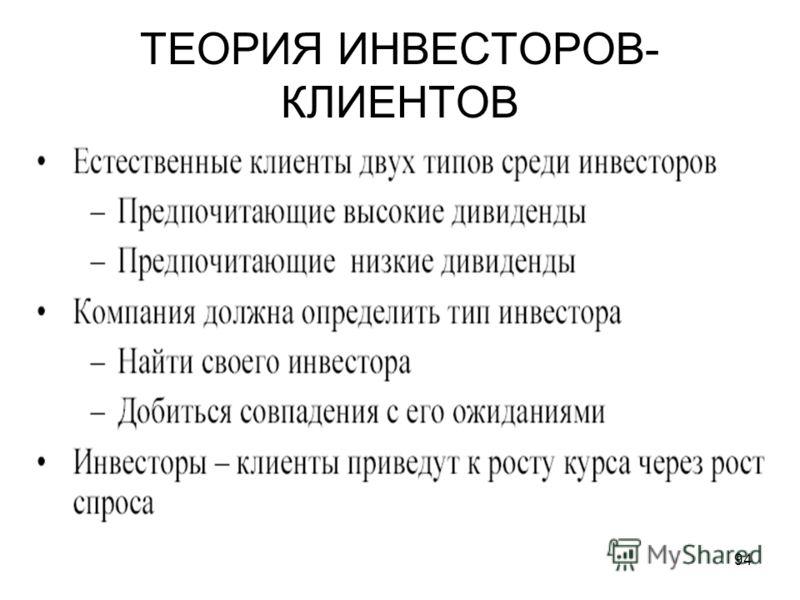 94 ТЕОРИЯ ИНВЕСТОРОВ- КЛИЕНТОВ