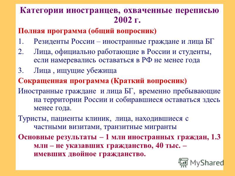 Категории иностранцев, охваченные переписью 2002 г. Полная программа (общий вопросник) 1.Резиденты России – иностранные граждане и лица БГ 2.Лица, официально работающие в России и студенты, если намеревались оставаться в РФ не менее года 3.Лица, ищущ