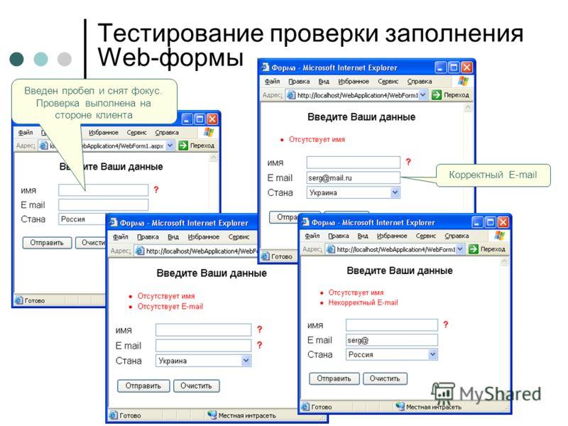 Тестирование проверки заполнения Web-формы Введен пробел и снят фокус. Проверка выполнена на стороне клиента Корректный E-mail
