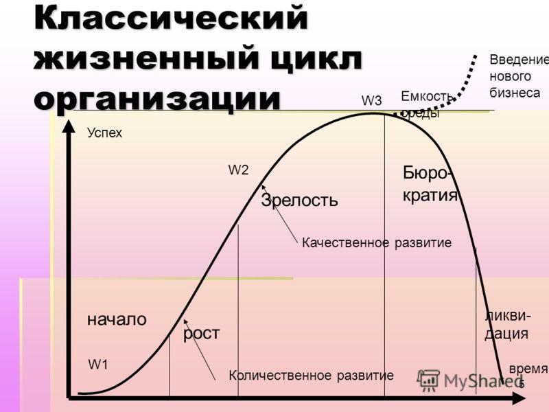 5 Классический жизненный цикл организации начало рост Зрелость Бюро- кратия ликви- дация время Успех Емкость среды W1W1 W2W2 W3 Количественное развитие Качественное развитие Введение нового бизнеса