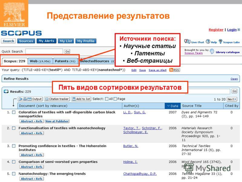 Пять видов сортировки результатов Представление результатов Источники поиска: Научные статьи Патенты Веб-страницы