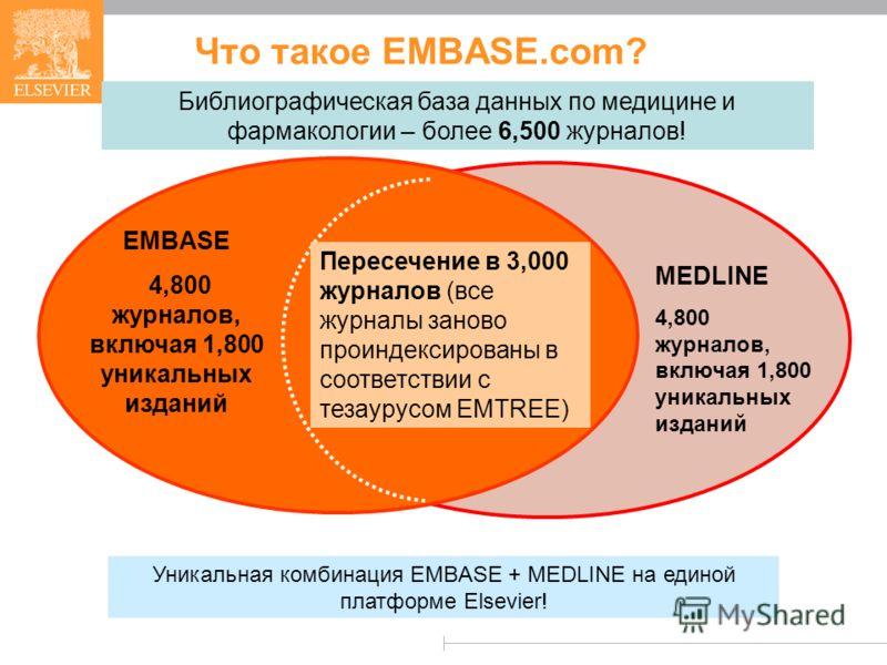 Что такое EMBASE.com? MEDLINE 4,800 журналов, включая 1,800 уникальных изданий EMBASE 4,800 журналов, включая 1,800 уникальных изданий Уникальная комбинация EMBASE + MEDLINE на единой платформе Elsevier! Библиографическая база данных по медицине и фа