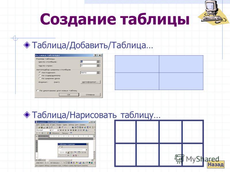 Создание таблицы Таблица/Добавить/Таблица… Таблица/Нарисовать таблицу… Назад
