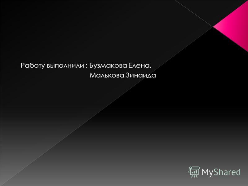 Работу выполнили : Бузмакова Елена, Малькова Зинаида