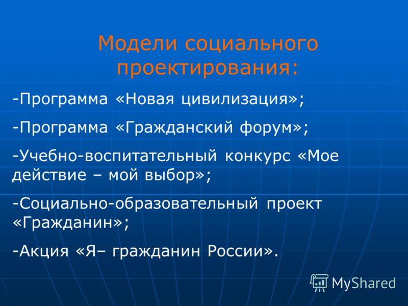 Модели социального проектирования: -Программа «Новая цивилизация»; -Программа «Гражданский форум»; -Учебно-воспитательный конкурс «Мое действие – мой выбор»; -Социально-образовательный проект «Гражданин»; -Акция «Я– гражданин России».