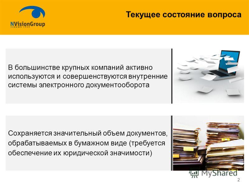 Текущее состояние вопроса 2 В большинстве крупных компаний активно используются и совершенствуются внутренние системы электронного документооборота Сохраняется значительный объем документов, обрабатываемых в бумажном виде (требуется обеспечение их юр