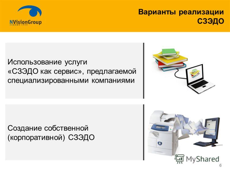 Варианты реализации СЗЭДО 6 Использование услуги «СЗЭДО как сервис», предлагаемой специализированными компаниями Создание собственной (корпоративной) СЗЭДО