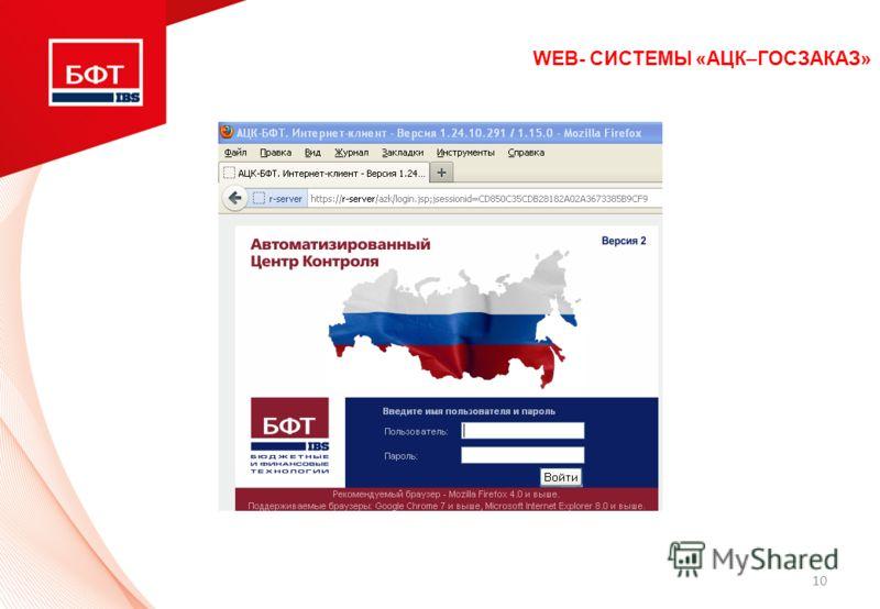 10 WEB- СИСТЕМЫ «АЦК–ГОСЗАКАЗ»