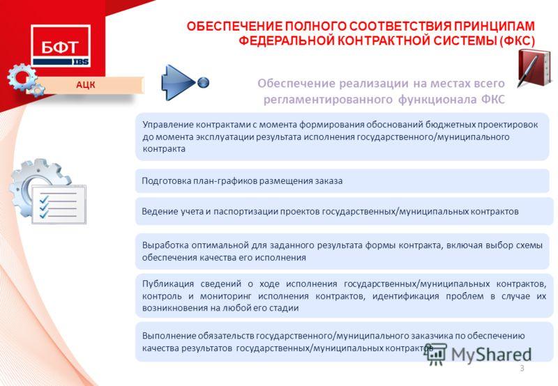 3 ОБЕСПЕЧЕНИЕ ПОЛНОГО СООТВЕТСТВИЯ ПРИНЦИПАМ ФЕДЕРАЛЬНОЙ КОНТРАКТНОЙ СИСТЕМЫ (ФКС) АЦК Обеспечение реализации на местах всего регламентированного функционала ФКС Управление контрактами с момента формирования обоснований бюджетных проектировок до моме
