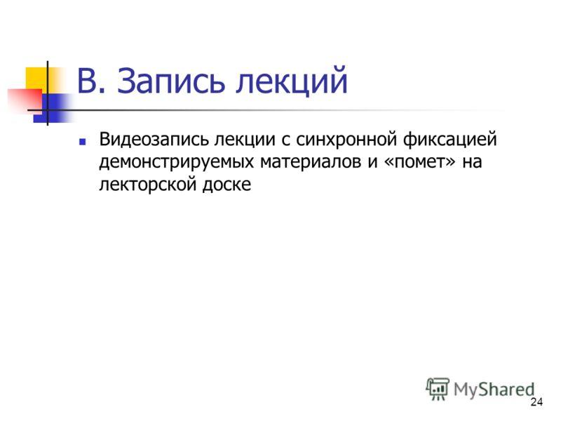 B. Запись лекций Видеозапись лекции с синхронной фиксацией демонстрируемых материалов и «помет» на лекторской доске 24