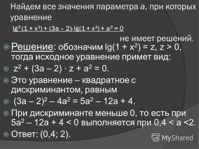 Найдем все значения параметра а, при которых уравнение lg 2 (1 + х 2 ) + (3а – 2)· lg(1 + х 2 ) + а 2 = 0 не имеет решений. Решение: обозначим lg(1 + х 2 ) = z, z > 0, тогда исходное уравнение примет вид: z 2 + (3а – 2) · z + а 2 = 0. Это уравнение –