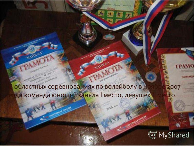 В областных соревнованиях по волейболу в ноябре 2007 года команда юношей заняла I место, девушек II место.