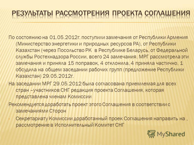 По состоянию на 01.05.2012г. поступили замечания от Республики Армения (Министерство энергетики и природных ресурсов РА), от Республики Казахстан (через Посольство РК в Республике Беларусь, от Федеральной службы Ростехнадзора России, всего 24 замечан
