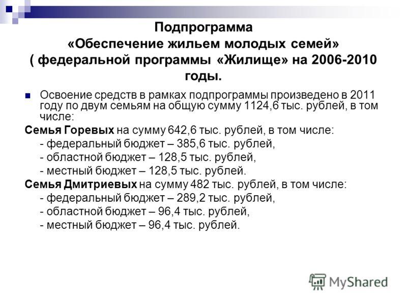Подпрограмма «Обеспечение жильем молодых семей» ( федеральной программы «Жилище» на 2006-2010 годы. Освоение средств в рамках подпрограммы произведено в 2011 году по двум семьям на общую сумму 1124,6 тыс. рублей, в том числе: Семья Горевых на сумму 6