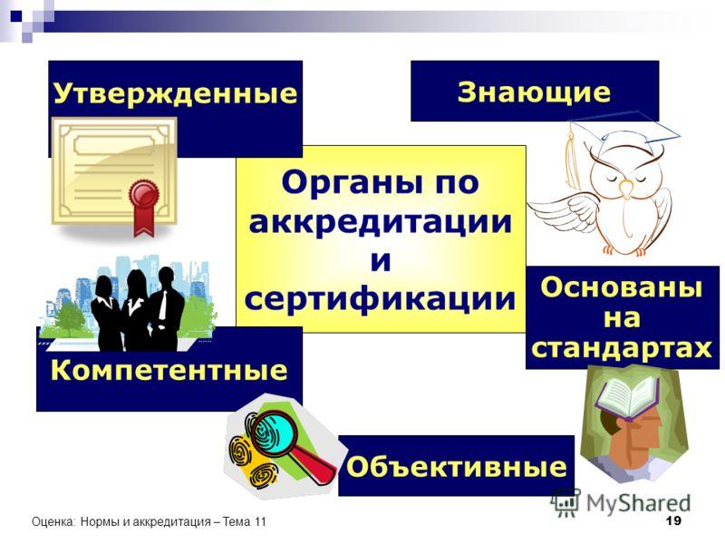 Оценка: Нормы и аккредитация – Тема 11 19 Органы по аккредитации и сертификации Компетентные Объективные Основаны на стандартах Знающие Утвержденные
