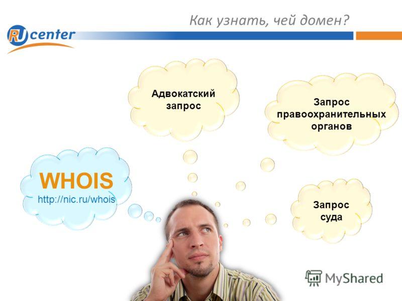 Как узнать, чей домен? WHOIS http://nic.ru/whois Адвокатский запрос Запрос правоохранительных органов Запрос суда