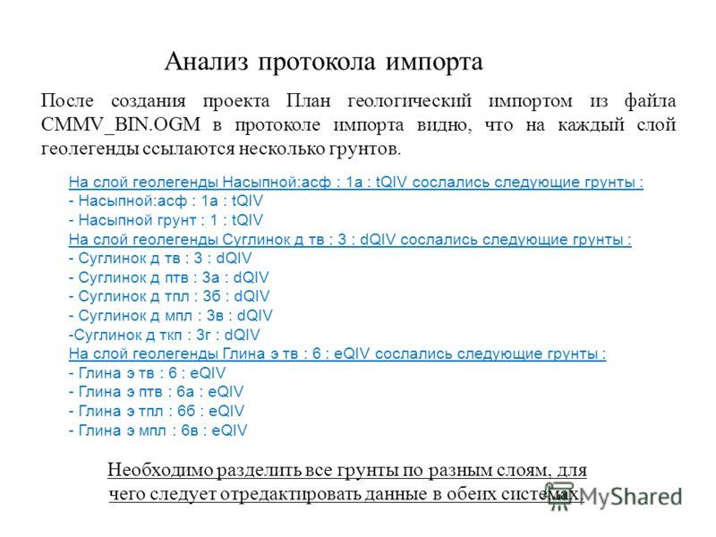 Анализ протокола импорта После создания проекта План геологический импортом из файла CMMV_BIN.OGM в протоколе импорта видно, что на каждый слой геолегенды ссылаются несколько грунтов. На слой геолегенды Насыпной:асф : 1а : tQIV сослались следующие гр