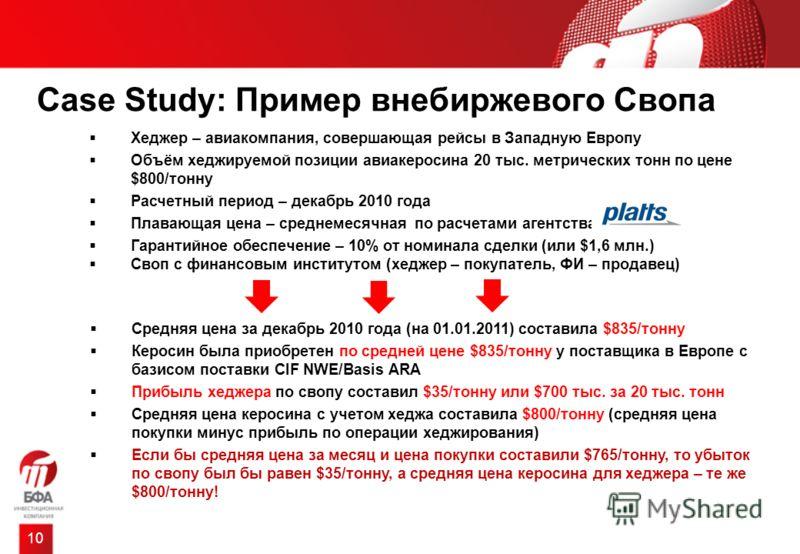 Case Study: Пример внебиржевого Свопа 10 Хеджер – авиакомпания, совершающая рейсы в Западную Европу Объём хеджируемой позиции авиакеросина 20 тыс. метрических тонн по цене $800/тонну Расчетный период – декабрь 2010 года Плавающая цена – среднемесячна