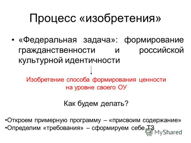 Процесс «изобретения» «Федеральная задача»: формирование гражданственности и российской культурной идентичности Изобретение способа формирования ценности на уровне своего ОУ Как будем делать? Откроем примерную программу – «присвоим содержание» Опреде
