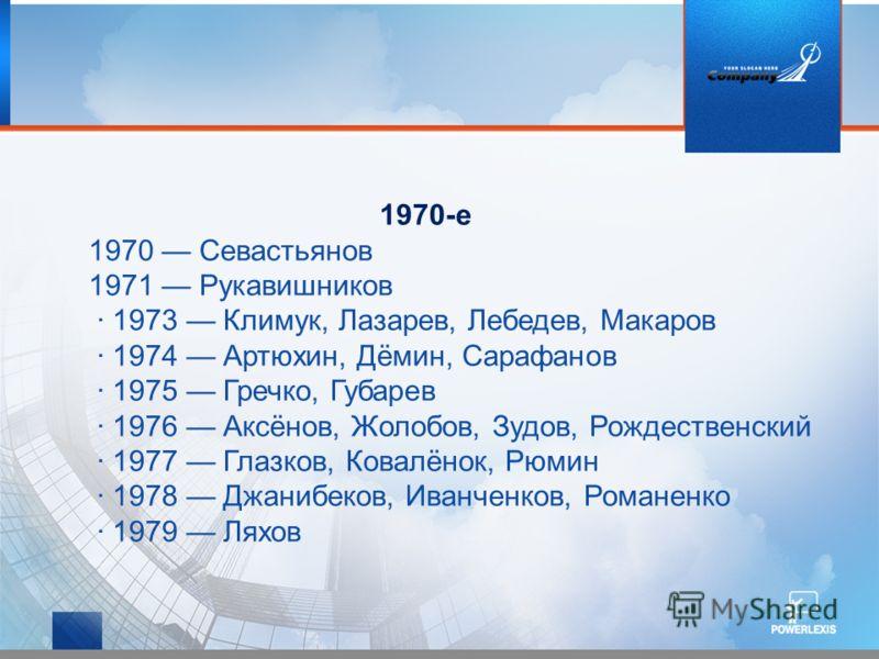 1970-е 1970 Севастьянов 1971 Рукавишников · 1973 Климук, Лазарев, Лебедев, Макаров · 1974 Артюхин, Дёмин, Сарафанов · 1975 Гречко, Губарев · 1976 Аксёнов, Жолобов, Зудов, Рождественский · 1977 Глазков, Ковалёнок, Рюмин · 1978 Джанибеков, Иванченков,