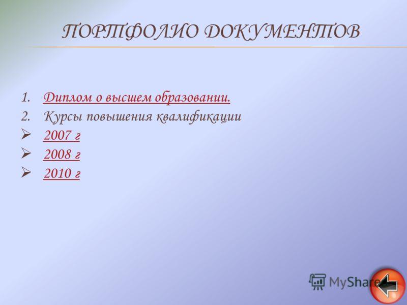 ПОРТФОЛИО ДОКУМЕНТОВ 1.Диплом о высшем образовании.Диплом о высшем образовании. 2.Курсы повышения квалификации 2007 г 2008 г 2010 г 2010 г