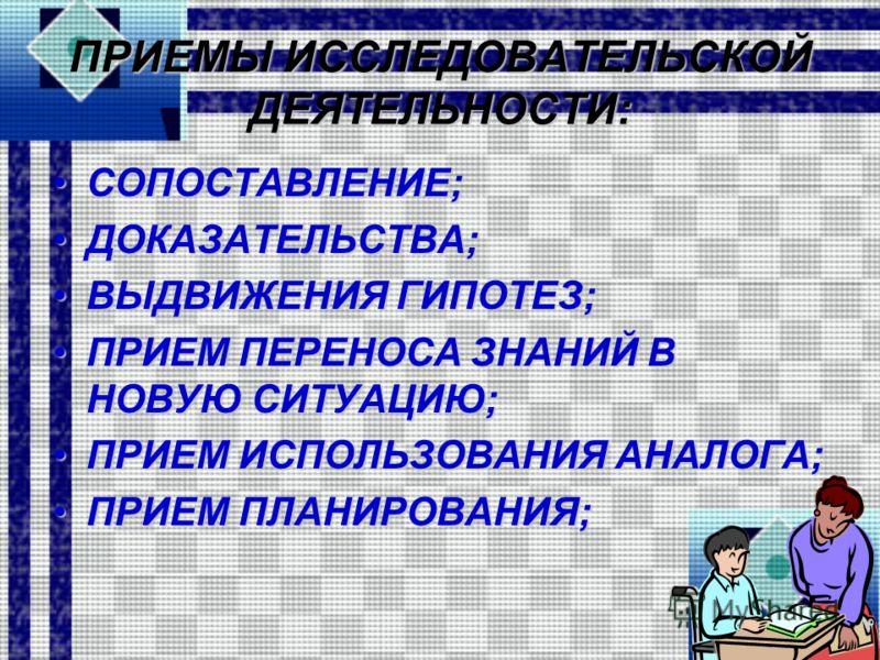ПРИЕМЫ ИССЛЕДОВАТЕЛЬСКОЙ ДЕЯТЕЛЬНОСТИ: СОПОСТАВЛЕНИЕ;СОПОСТАВЛЕНИЕ; ДОКАЗАТЕЛЬСТВА;ДОКАЗАТЕЛЬСТВА; ВЫДВИЖЕНИЯ ГИПОТЕЗ;ВЫДВИЖЕНИЯ ГИПОТЕЗ; ПРИЕМ ПЕРЕНОСА ЗНАНИЙ В НОВУЮ СИТУАЦИЮ;ПРИЕМ ПЕРЕНОСА ЗНАНИЙ В НОВУЮ СИТУАЦИЮ; ПРИЕМ ИСПОЛЬЗОВАНИЯ АНАЛОГА;ПРИЕМ