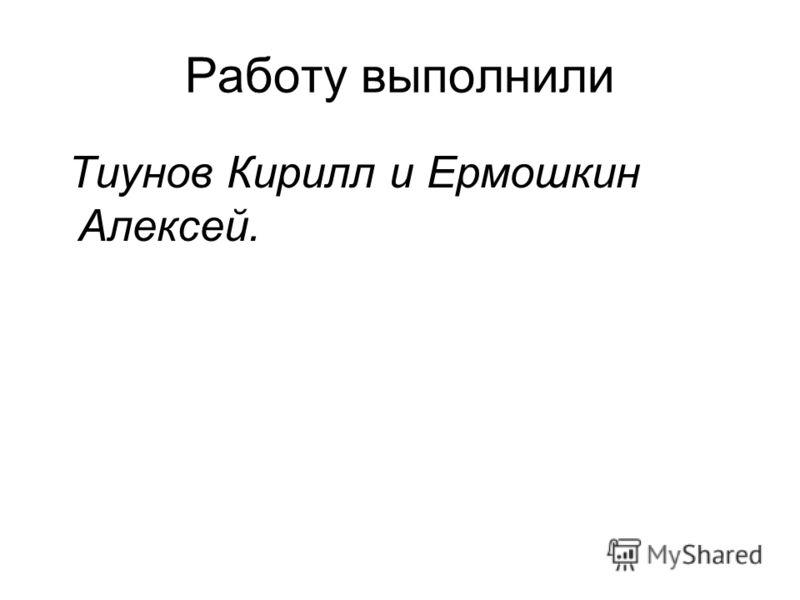 Работу выполнили Тиунов Кирилл и Ермошкин Алексей.