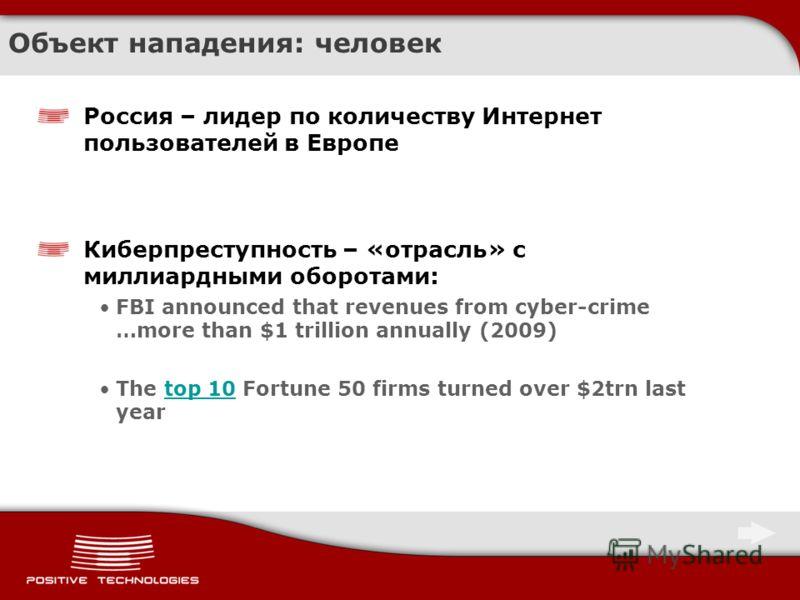 Объект нападения: человек Россия – лидер по количеству Интернет пользователей в Европе Киберпреступность – «отрасль» с миллиардными оборотами: FBI announced that revenues from cyber-crime …more than $1 trillion annually (2009) The top 10 Fortune 50 f