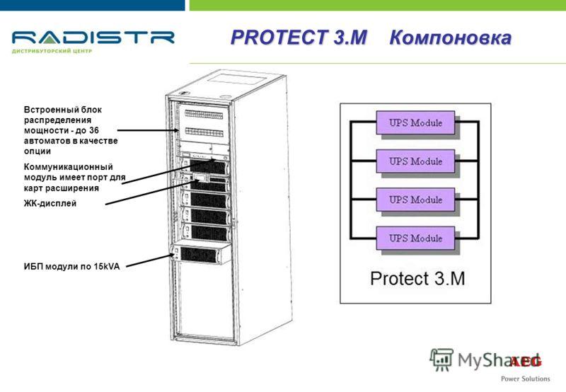 Встроенный блок распределения мощности - до 36 автоматов в качестве опции Коммуникационный модуль имеет порт для карт расширения ЖК-дисплей ИБП модули по 15kVA PROTECT 3.M Компоновка