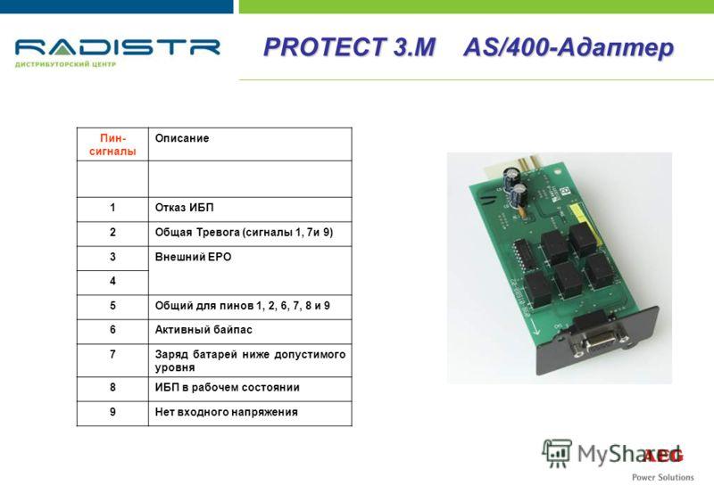Пин- сигналы Описание 1Отказ ИБП 2Общая Тревога (сигналы 1, 7и 9) 3Внешний EPO 4 5Общий для пинов 1, 2, 6, 7, 8 и 9 6Активный байпас 7Заряд батарей ниже допустимого уровня 8ИБП в рабочем состоянии 9Нет входного напряжения PROTECT 3.M AS/400-Адаптер