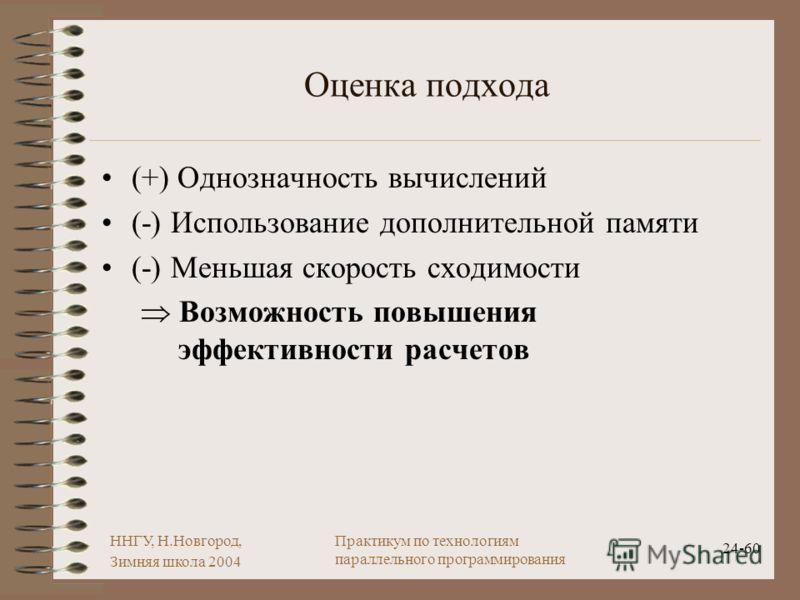 ННГУ, Н.Новгород, Зимняя школа 2004 24-60 Практикум по технологиям параллельного программирования Оценка подхода (+) Однозначность вычислений (-) Использование дополнительной памяти (-) Меньшая скорость сходимости Возможность повышения эффективности
