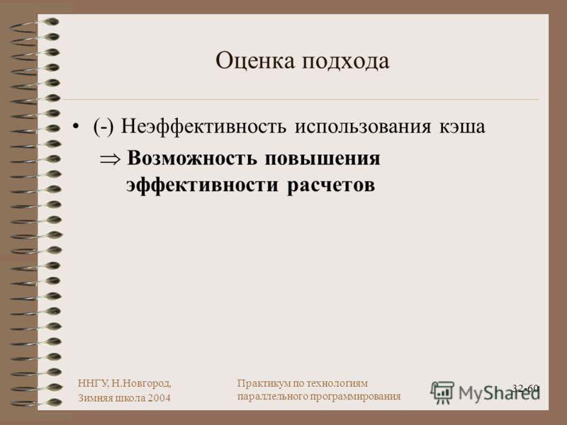 ННГУ, Н.Новгород, Зимняя школа 2004 32-60 Практикум по технологиям параллельного программирования Оценка подхода (-) Неэффективность использования кэша Возможность повышения эффективности расчетов