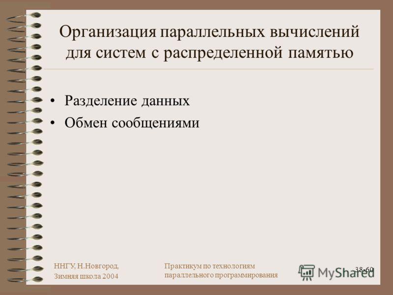 ННГУ, Н.Новгород, Зимняя школа 2004 38-60 Практикум по технологиям параллельного программирования Организация параллельных вычислений для систем с распределенной памятью Разделение данных Обмен сообщениями