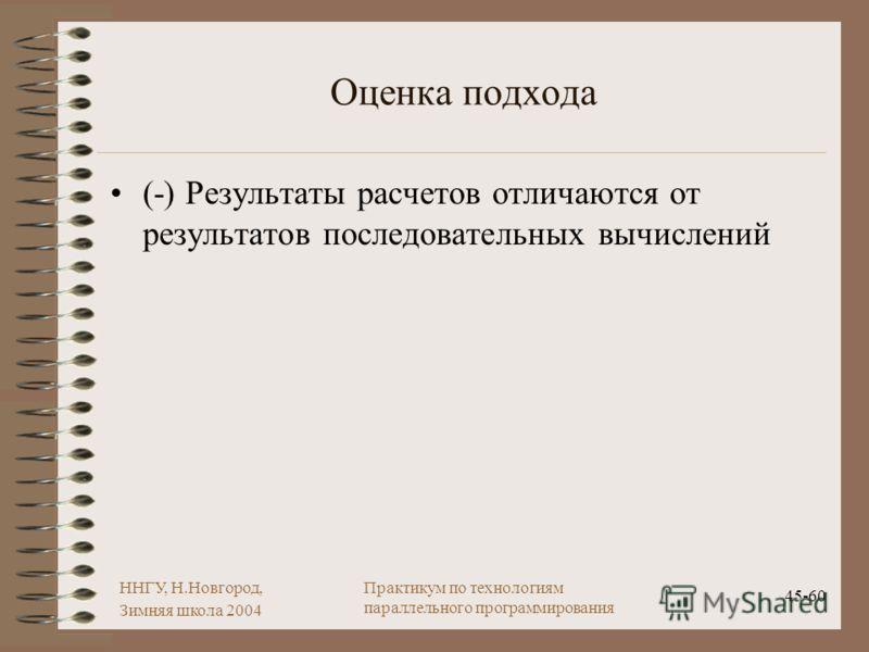 ННГУ, Н.Новгород, Зимняя школа 2004 45-60 Практикум по технологиям параллельного программирования Оценка подхода (-) Результаты расчетов отличаются от результатов последовательных вычислений