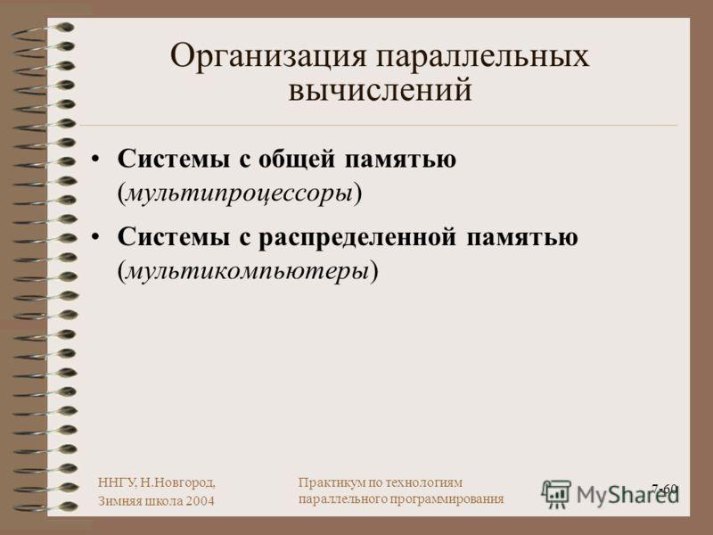 ННГУ, Н.Новгород, Зимняя школа 2004 7-60 Практикум по технологиям параллельного программирования Организация параллельных вычислений Системы с общей памятью (мультипроцессоры) Системы с распределенной памятью (мультикомпьютеры)