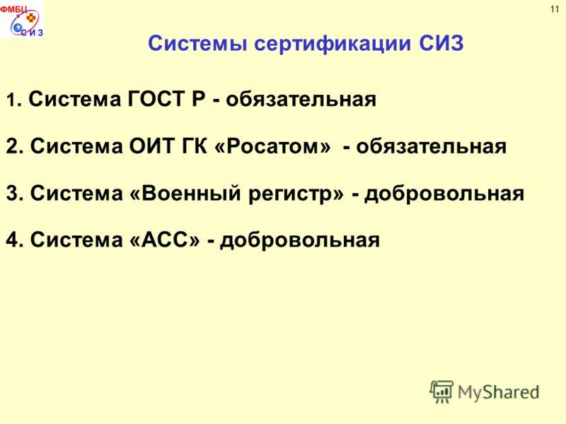 Системы сертификации СИЗ 1. Система ГОСТ Р - обязательная 2. Система ОИТ ГК «Росатом» - обязательная 3. Система «Военный регистр» - добровольная 4. Система «АСС» - добровольная 11