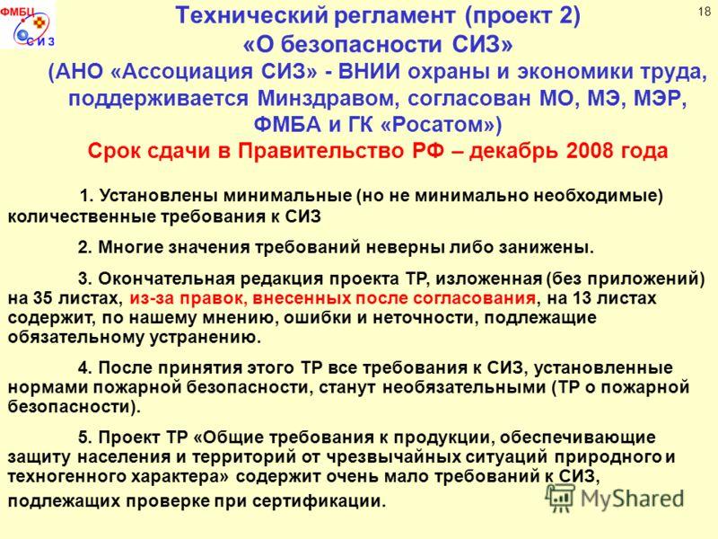 Технический регламент (проект 2) «О безопасности СИЗ» (АНО «Ассоциация СИЗ» - ВНИИ охраны и экономики труда, поддерживается Минздравом, согласован МО, МЭ, МЭР, ФМБА и ГК «Росатом») Срок сдачи в Правительство РФ – декабрь 2008 года 1. Установлены мини
