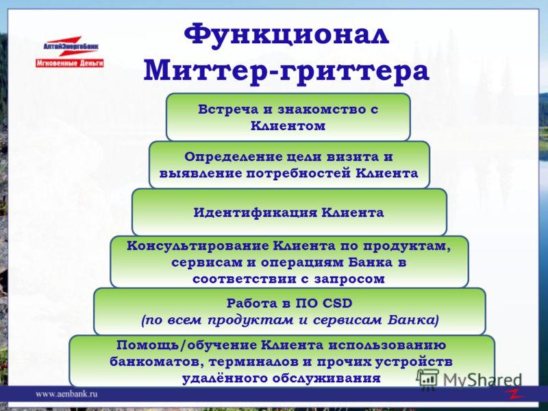 Функционал Миттер-гриттера Встреча и знакомство с Клиентом Определение цели визита и выявление потребностей Клиента Работа в ПО CSD (по всем продуктам и сервисам Банка) Консультирование Клиента по продуктам, сервисам и операциям Банка в соответствии