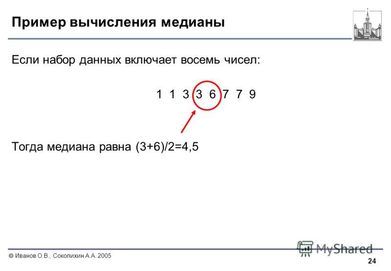 24 Иванов О.В., Соколихин А.А. 2005 Пример вычисления медианы Если набор данных включает восемь чисел: 1 1 3 3 6 7 7 9 Тогда медиана равна (3+6)/2=4,5