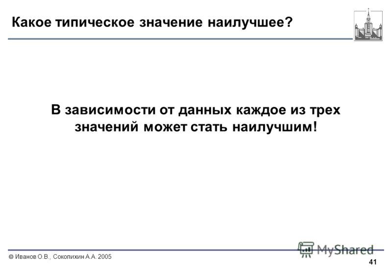 41 Иванов О.В., Соколихин А.А. 2005 Какое типическое значение наилучшее? В зависимости от данных каждое из трех значений может стать наилучшим!