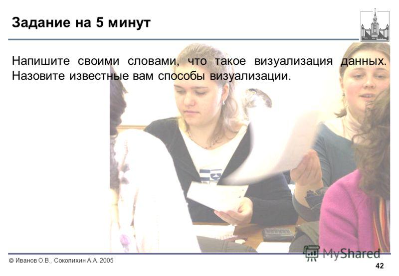 42 Иванов О.В., Соколихин А.А. 2005 Задание на 5 минут Напишите своими словами, что такое визуализация данных. Назовите известные вам способы визуализации.